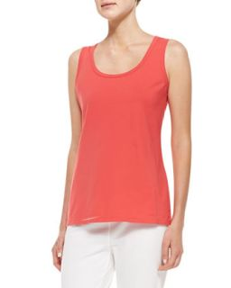 Womens Essential Four Way Stretch Jersey Tank, Coral   Neon Buddha   Coral