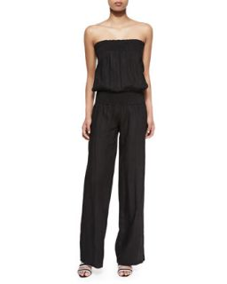 Womens Jil Smocked Strapless Linen Jumpsuit   Young Fabulous and Broke   Black