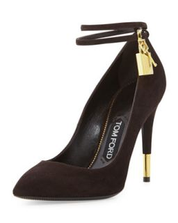 Suede Ankle Lock Pump, Chocolate   Tom Ford   Chocolate (37.5B/7.5B)