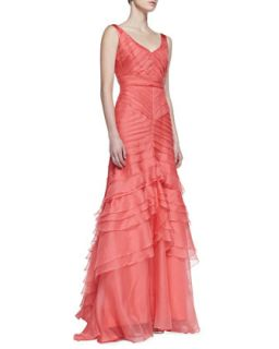 Womens Sleeveless Layered Mermaid Gown, Coral   Theia by Don ONeill
