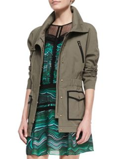 Womens Twill Contrast Trim Military Jacket   Veronica Beard   Olive (8)