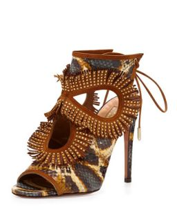 Snakeskin Fringe Cutout Sandal, Honey/Berry   Aquazzura   Honey/Berry (37.5B/7.