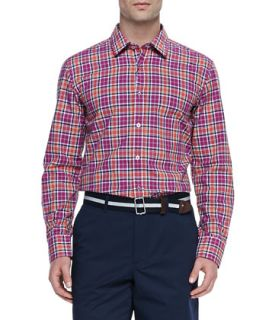 Mens Woven Check Button Down Shirt, Red   Boss Hugo Boss   Red (SMALL)