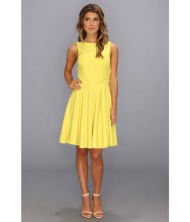 Badgley Mischka Fit and Flare Cocktail Dress Open Back Womens Dress (Yellow)