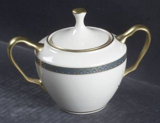 Lenox China Patriot (Gold Verge) Sugar Bowl & Lid, Fine China Dinnerware   Green