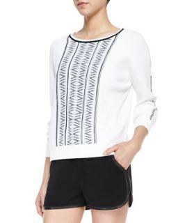 Womens Erin Lambskin Trim Printed Knit Sweater   Rag & Bone   White (SMALL)