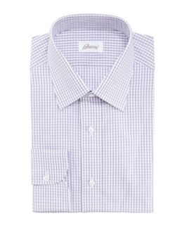Mens Check Dress Shirt, Purple/White   Brioni   Purple/White (42/16.5L)