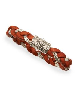 Mens NM Exclusive Cognac Leather & Sterling Silver Bracelet   John Hardy
