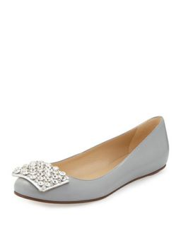 brilliant jewel toe ballerina flat, gray   kate spade new york   Grey (37.0B/7.