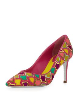 Multicolor Suede Mosaic Pump   Rene Caovilla   Multi colors (37.5B/7.5B)