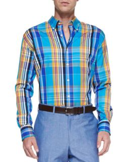 Mens Long Sleeve Plaid Weekend Shirt, Blue   Peter Millar   Blue (MEDIUM)