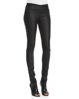 Womens Python Embossed Leather Leggings   Milly   Black (6)