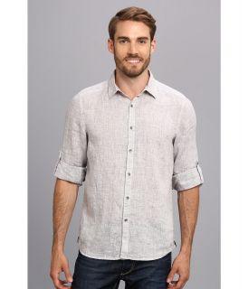 Kenneth Cole Sportswear Long Sleeve Linen Roll Sleeve Shirt Mens Short Sleeve Button Up (Gray)