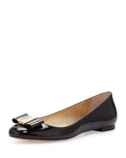 thyme patent bow flat, black   kate spade new york   Black (40.0B/10.0B)