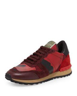 Rockstud Camo Print Sneaker, Red   Valentino   Red/Camo (37.5B/7.5B)