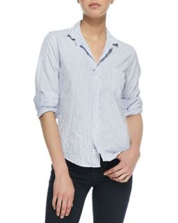 Womens Barry Buttoned Striped Shirt, White/Blue   Frank & Eileen   Wht ptrn