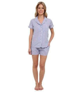 BOTTOMS O.U.T GAL Woven Short Sleeve PJ Set w/ Shorts Womens Pajama Sets (Blue)
