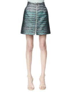 Womens Zip Front Crocodile Jacquard Skirt, Celadon   Stella McCartney
