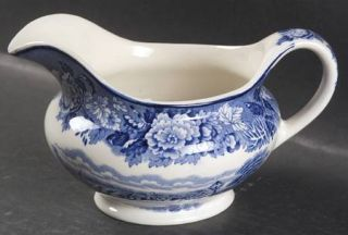 Enoch Wood & Sons English Scenery Blue (Blue Backs,Smooth) Gravy Boat, Fine Chin