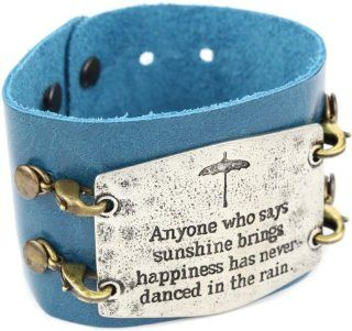 Lenny and Eva Ocean with Silver Sentiment 'Anyone Who Says' Wide Cuff Bracelet: Jewelry