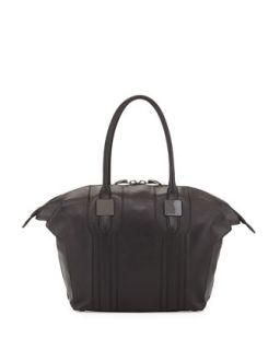 Morrison Paneled Zip Leather Tote Bag, Black   Rachel Zoe