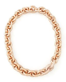 Pave Link Cable Chain Necklace, Rose Gold   Eddie Borgo   Rose gold