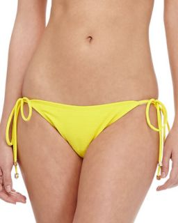 Womens Textured Tie Side Swim Bottom   Shoshanna   Lemon drop (MEDIUM)