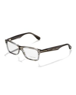 Unisex Soft Rectangular Fashion Glasses, Light Havana   Tom Ford   Grey horn