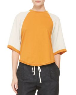 Womens Half Sleeve Baseball Shirt, Bone/Persimmon   3.1 Phillip Lim