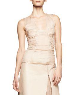 Womens Sleeveless Ruched Chiffon Top   Reed Krakoff   Vachetta/White (4)