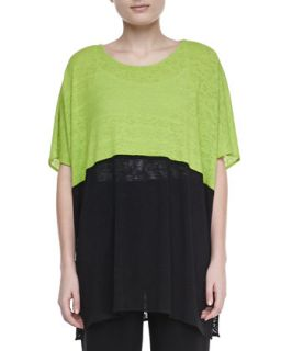 Womens Colorblock Short Sleeve Caftan   Caroline Rose   Lime/Black (ONE SIZE)