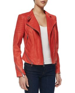 Womens Italian Stone Washed Lambskin Jacket, Sunset   Andrew Marc x Richard