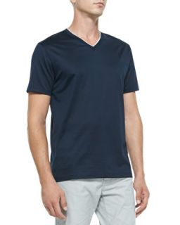 Mens Knit V Neck Tee, Navy   Boss Hugo Boss   Navy (LARGE)