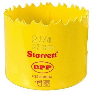 "Starrett DH0214 Bi Metal Dual Pitch Professional Hole Saw, HSS Teeth, 2 1/4"" Diameter, 1 5/8"" Cutting Depth, 5/8"" 18 Thread, Yellow: Hole Saw Arbors: Industrial & Scientific"