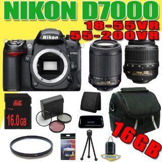 Nikon D7000 16.2MP DX Format CMOS Digital SLR w/ Nikon 55 200mm f/4 5.6G ED IF AF S DX VR Nikkor Zoom Lens + Nikon 18 55 f/3.5 5.6G AF DX VR Nikkor Lens + 16GB DavisMAX Advanced Bundle III  Digital Slr Camera Bundles  Camera & Photo