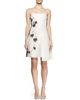 Womens Strapless Embroidered Mesh Dress   Reed Krakoff   White/Black (2)