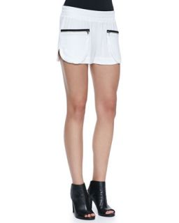 Womens Satin Crepe Zip Pocket Track Shorts   LAgence   White (8)