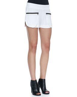 Womens Satin Crepe Zip Pocket Track Shorts   LAgence   White (8)