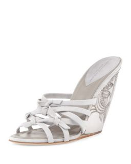 Tiberias Etched Wedge Sandal, Oyster   Donna Karan   Oyster (37.0B/7.0B)