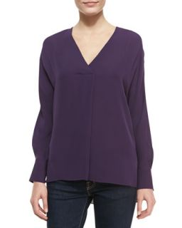 Womens Deep V Neck Silk Top, Eggplant   Halston Heritage   Eggplant (SMALL)