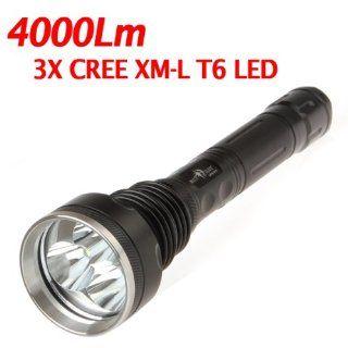 SecurityIng 4000Lm 3X CREE XM L T6 LED Super Bright 5 Models Waterproof Flashlight Torch   Basic Handheld Flashlights
