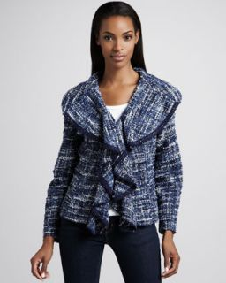 Womens Hamptons Tweed Weekend Jacket, Petite   Berek   Multi(blue/White) (PXS