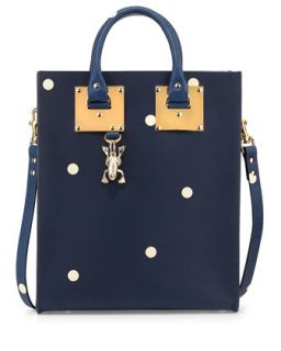 Spotted Mini Tote Bag, Navy/Cream   Sophie Hulme