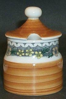 Goebel Burgund Mustard Jar & Lid, Fine China Dinnerware   Country,Rust Rim,Yello