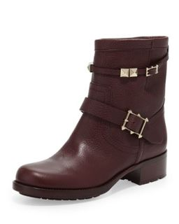 Rockstud Double Buckle Low Biker Boot, Wine   Valentino   Wine (36.0B/6.0B)