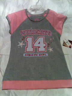 Disney Channel High School Musical Gray with Pink Accents Short Sleeve T Shirt Saying, 'Wildcats 14 Athletic Dept.'   Size L/14yrs: Toys & Games