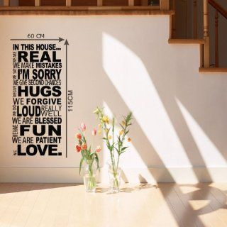 "23.6"" X 45.3"" in This HouseWe Are Real We Make Mistakes We Say I'm Sorry We Give Second Chances We Have Fun We Give Hugs We Forgive We Do Really Loud We Are Patient We Love Wall Saying Decals Quotes Wall Saying Art Decor DIY Vinyl Lettering D"