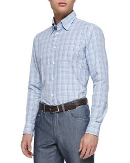 Mens Mini Check Button Down Shirt, Blue   Brioni   Blue pattern (MEDIUM)