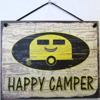 "Vintage Style Sign with Smiling Trailer Saying, ""HAPPY CAMPER"" Decorative Fun Universal Household Signs from Egbert's Treasures"