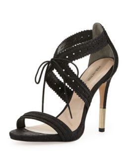 Shanna Snake Embossed Leather Lace Front Sandal, Black   Pour la Victoire
